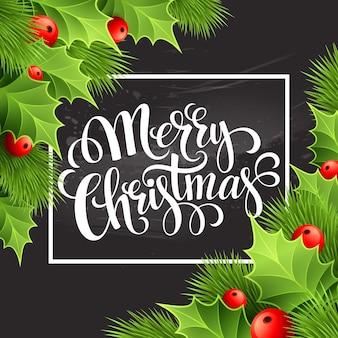 Christmas decoration on chalk board. vector illustration eps 10