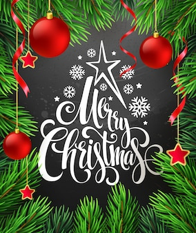 Christmas decoration on chalk board with lettering, greeting card
