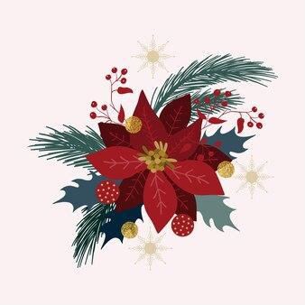 Christmas decoration christmas tree branches balls snowflakes poinsettia new year