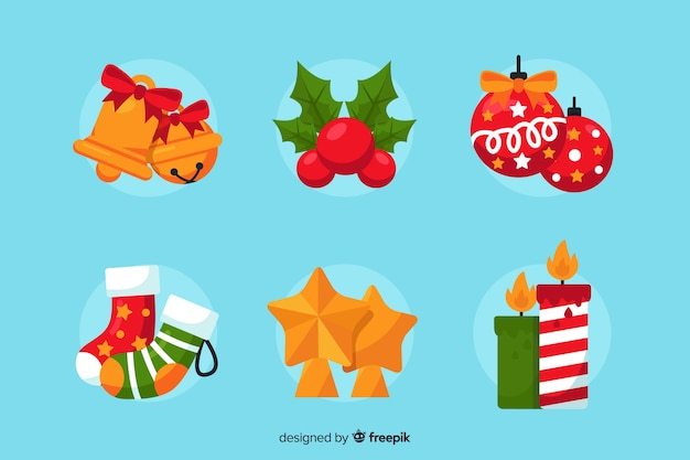 Christmas decoration collection in flat design style