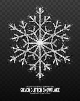 Christmas decoration elegant shining silver snowflake on transparent background