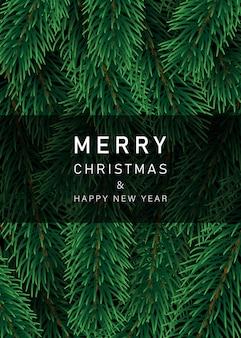 クリスマスの装飾要素。クリスマスツリーの枝の背景。