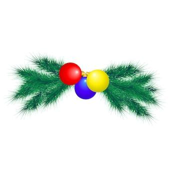 モミの枝とボールとクリスマスの装飾要素