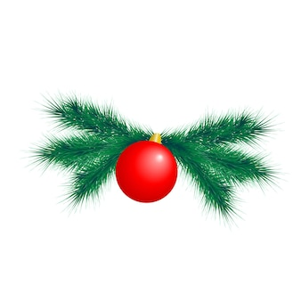 Christmas decoration element with fir branches and balls.