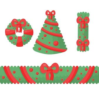 인사말 디자인 새해 축제 휴일 항목에 대한 크리스마스 장식 요소