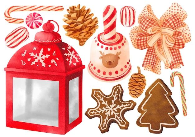 Рождественские украшения элементы иллюстрации акварель стили