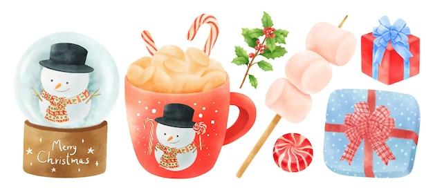 Elementi di decorazione natalizia illustrazioni stili acquerello