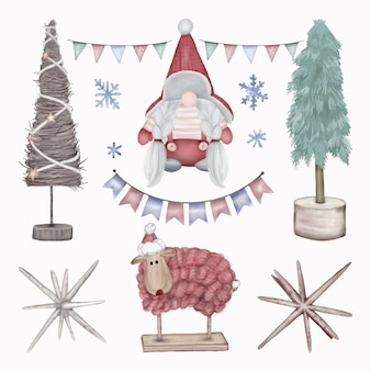 Рождественские украшения фигурки елки, овцы и гномы