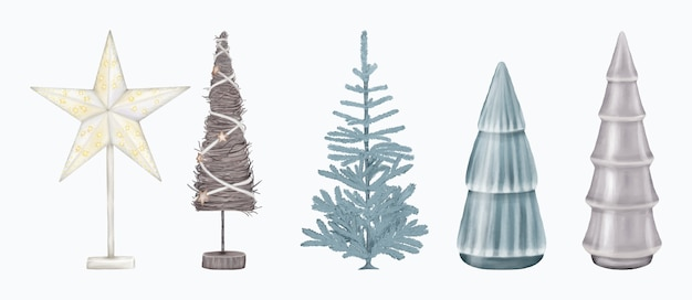 Christmas decoration figurine trees and star
