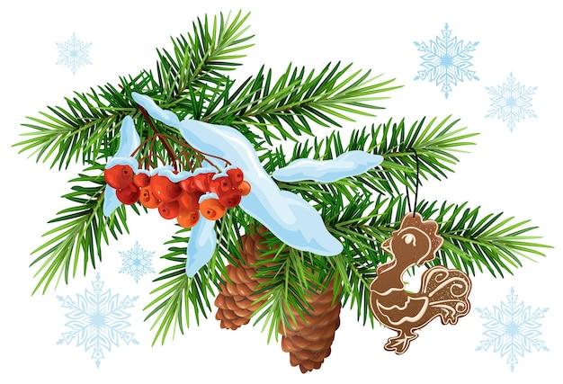 クリスマスの飾り。雪の下でモミの枝、ジンジャーブレッドのオンドリとナナカマドの果実。白で隔離