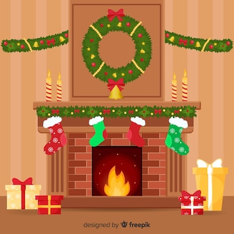 Christmas decoration in flat style
