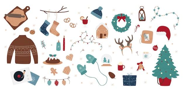 クリスマスデコレーションイラストセット、手描きスタイル。
