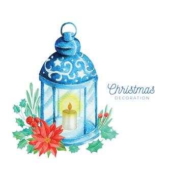 水彩スタイルのクリスマスデコレーション