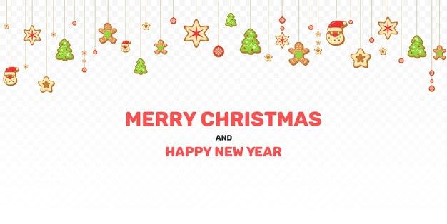 孤立したクリスマスの装飾。ぶら下がっている星、ボール、クリスマスツリー、ジンジャーブレッド。お祭りの装飾要素