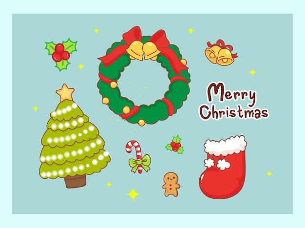 飾りのデザインでメリークリスマスの背景に分離されたクリスマスの装飾。