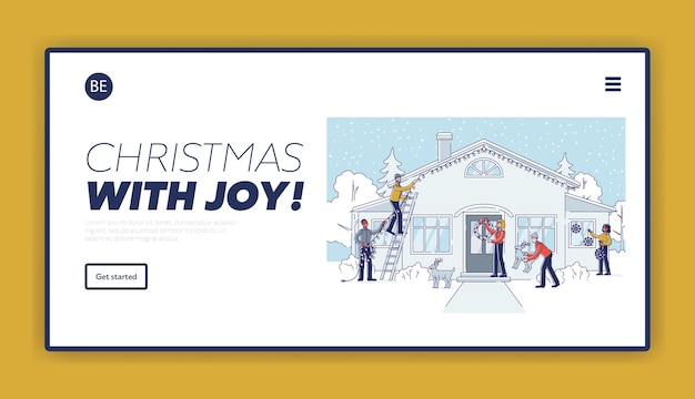 Christmas decoration landing page template with people decorating house and yard for winter holiday celebration.