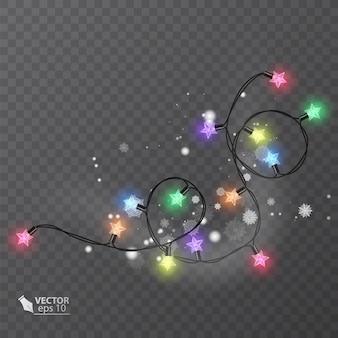 Рождественские украшения огни эффекты элементы дизайна светящиеся огни для праздничного дизайна поздравительной открытки