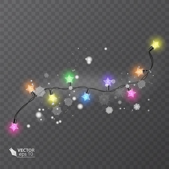 Christmas decoration lights effects design elements glowing lights for holiday greeting card design
