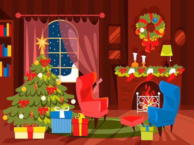 Christmas decoration, living room  with christmas tree. gift box under the christmas tree.  illustration in cartoon style.