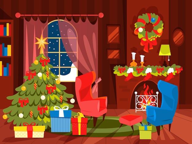 Новогоднее украшение, гостиная с елкой. подарочная коробка под елку. иллюстрация в мультяшном стиле.