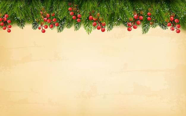 Christmas decoration on old paper background
