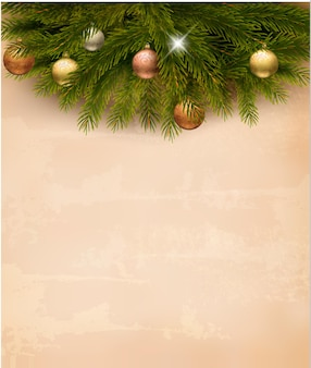 Christmas decoration on old paper background.  .