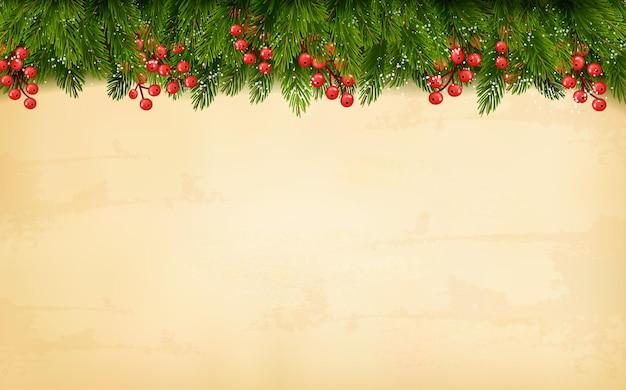 古い紙の背景にクリスマスの装飾