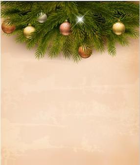 오래 된 종이 배경에 크리스마스 장식입니다.