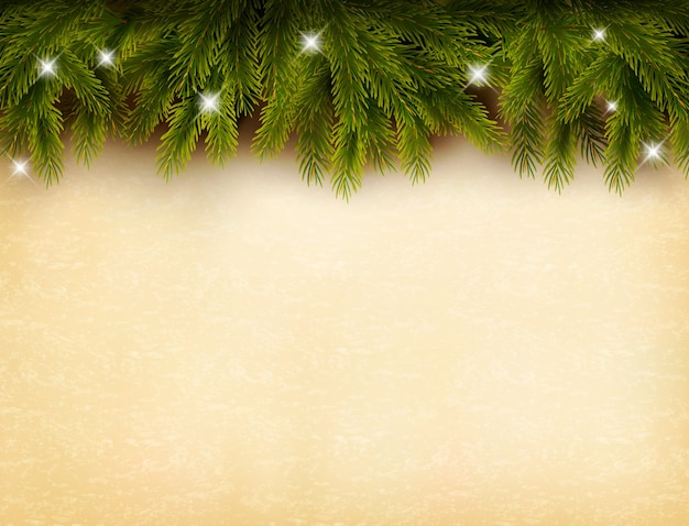 古い紙の背景にクリスマスの装飾。