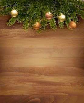나무 배경 크리스마스 장식입니다. .