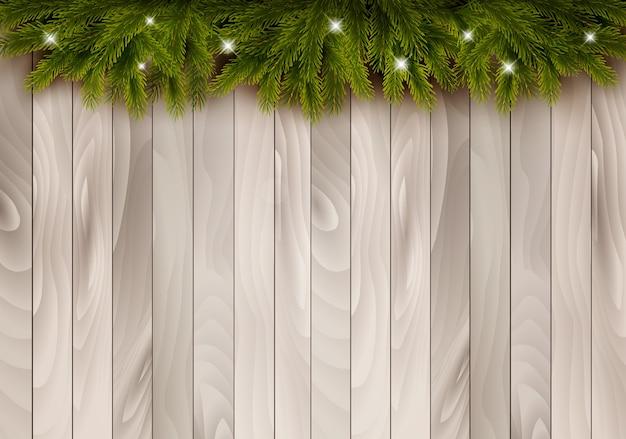 木製の背景にクリスマスの装飾。