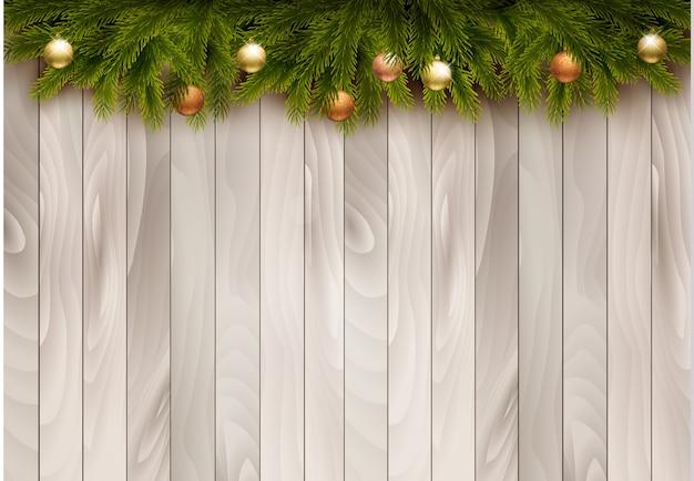 나무 배경 크리스마스 장식입니다.