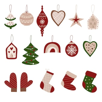 Christmas decoration and ornament clipart.  vector illustration.