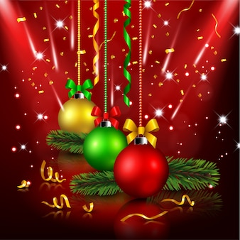 Christmas decoration in red background
