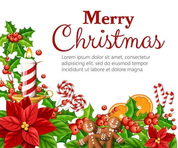 クリスマスの装飾の赤いポインセチアの花とヤドリギと緑の葉ジンジャーブレッドオレンジスライス杖スティックテキストの場所で白い背景のイラスト