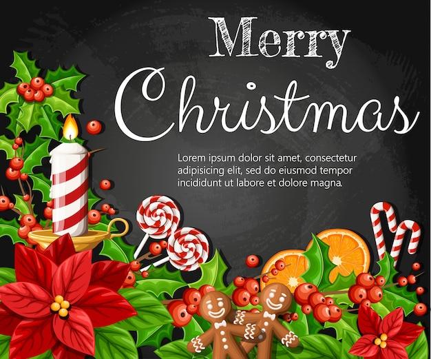クリスマスの装飾の赤いポインセチアの花とヤドリギの緑の葉ジンジャーブレッドオレンジスライスカネラスティック図あなたのテキストのための場所で黒い背景に