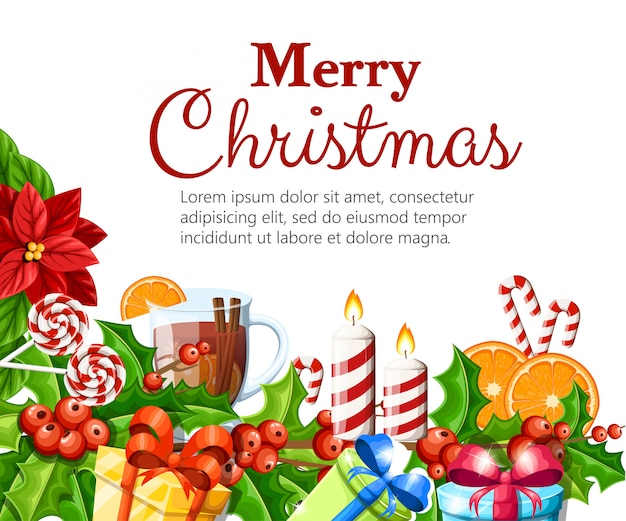 クリスマスの装飾の赤いポインセチアの花とヤドリギの緑の葉ジンジャーブレッドオレンジスライスカネラスティックイラスト白い背景の上のあなたのテキスト