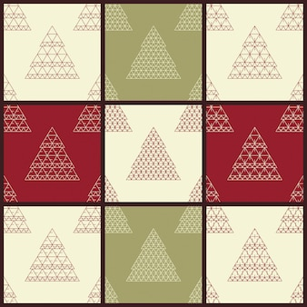 Christmas decoration seamless set patterns with stylized christmas trees retro background