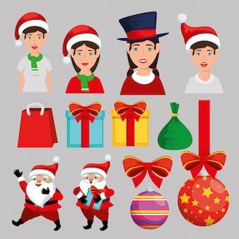 クリスマスデコレーションセットアイコン