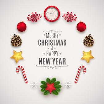 クリスマスの装飾書道とタイポグラフィのサインのセットラベルフレームステッカーリボン