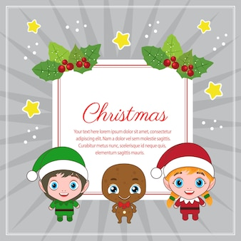 Christmas decoration square text with kids characters