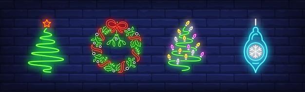 ネオンスタイルで設定されたクリスマスの装飾シンボル