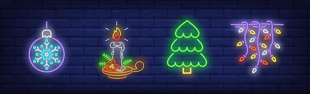 Christmas decoration symbols set in neon style