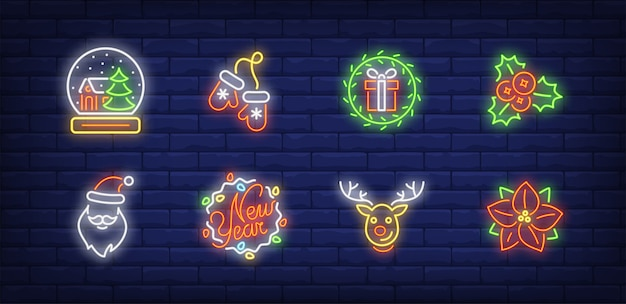 Christmas decoration symbols set in neon style