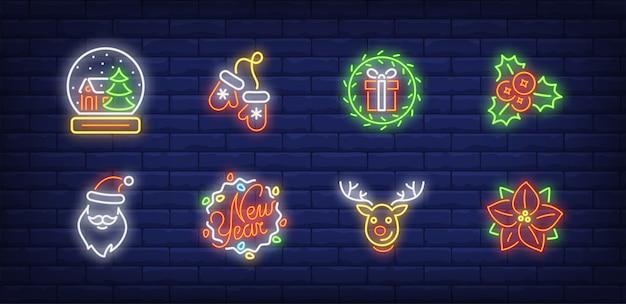 Simboli di decorazione natalizia impostati in stile neon