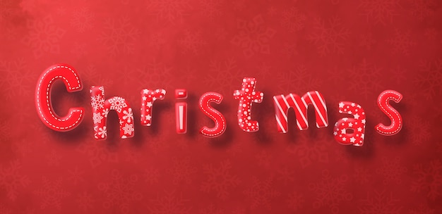 Christmas decoration text on red background