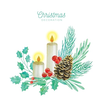 Christmas decoration in watercolor style