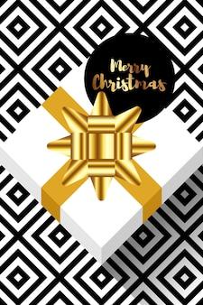 Новогоднее украшение с подарочной коробкой и золотой лентой