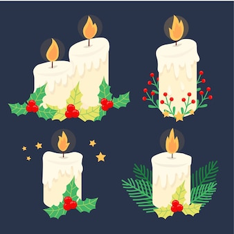 Christmas decoration with candle and mistletoe