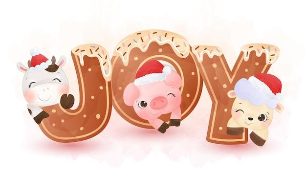 かわいい動物のクリスマスデコレーション